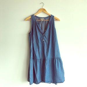 LOFT Chambray Drop Hem Dress